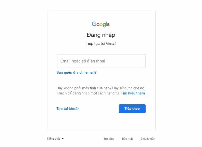 Cách tạo tài khoản gmail - Đăng nhập qua trang chủ