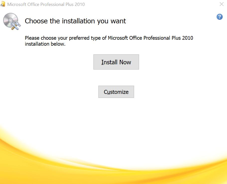 Cách tải và cài Office 2010 - Chọn chế độ cài đặt