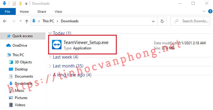 Hướng dẫn cài đặt TeamViewer - File cài đặt TeamViewer
