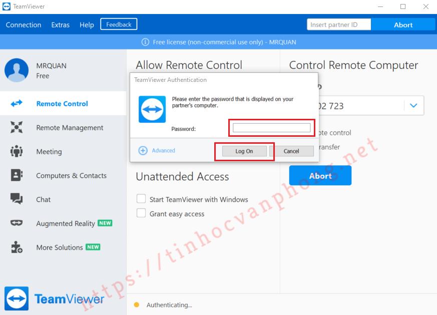TeamViewer - Nhập mật khẩu