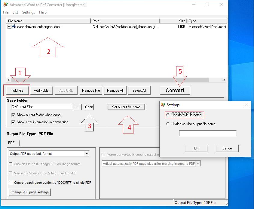 Cách chuyển word sang pdf hình 2.1