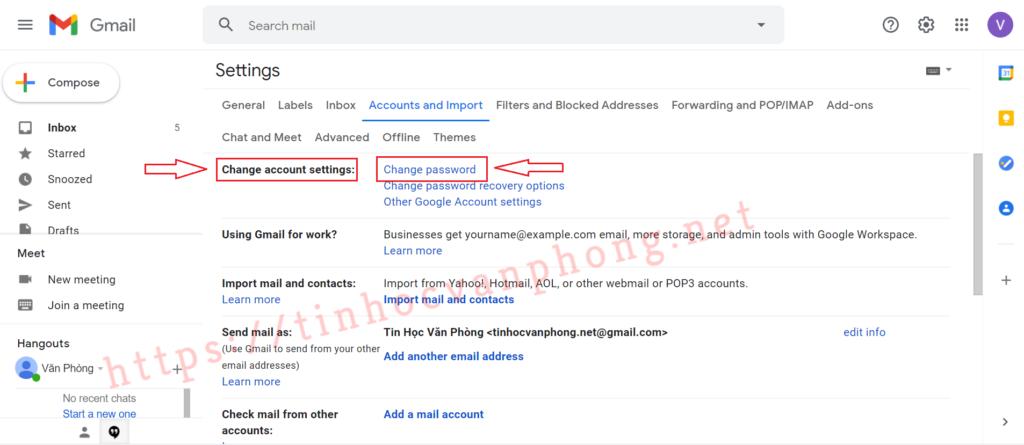 Cách đổi mật khẩu gmail - Change password