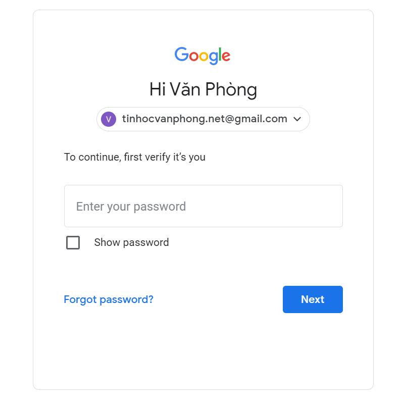 Cách đổi mật khẩu gmail - Input password