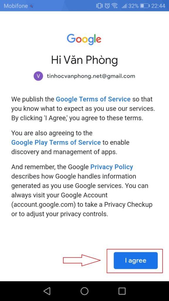 Đăng nhập Gmail - Mobile - Accept Term