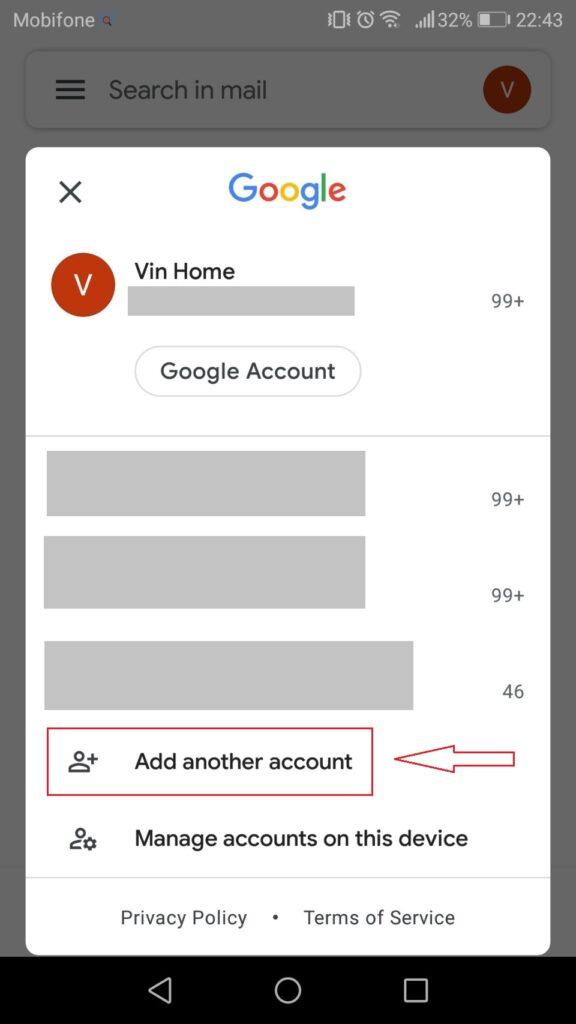 Đăng nhập Gmail - Mobile - Add new account