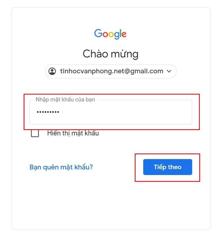 Đăng nhập Gmail - Nhập mật khẩu