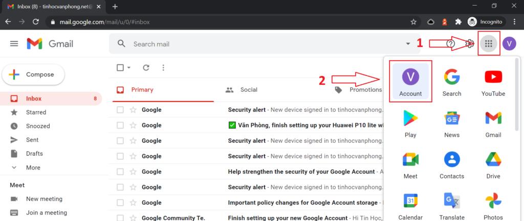 Đổi số điện thoại Gmail - Google apps