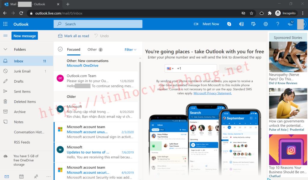 Outlook là gì - Webmail - Hộp thư