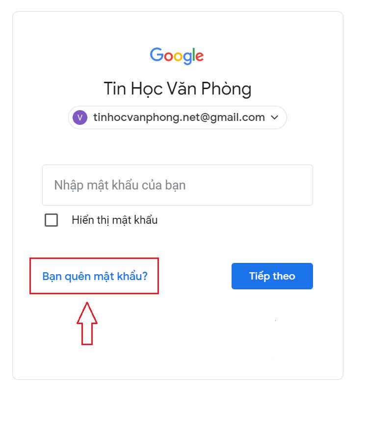 Quên mật khẩu Gmail - Trang nhập mật khẩu