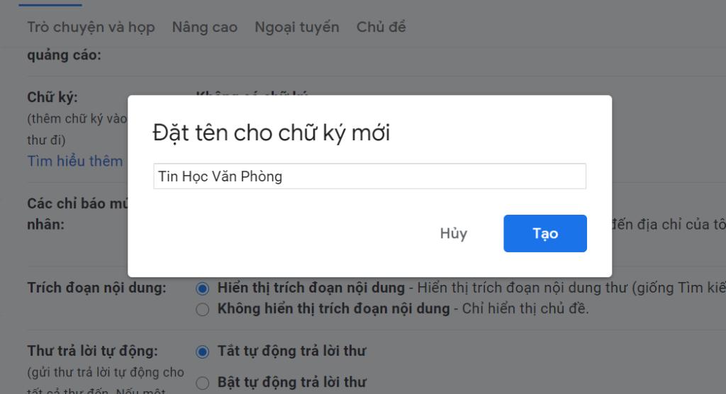 Tạo chữ ký Gmail - Đặt tên cho chữ ký mới