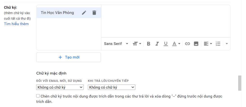 Tạo chữ ký Gmail - Màn hình soạn thảo nội dung cho chữ ký