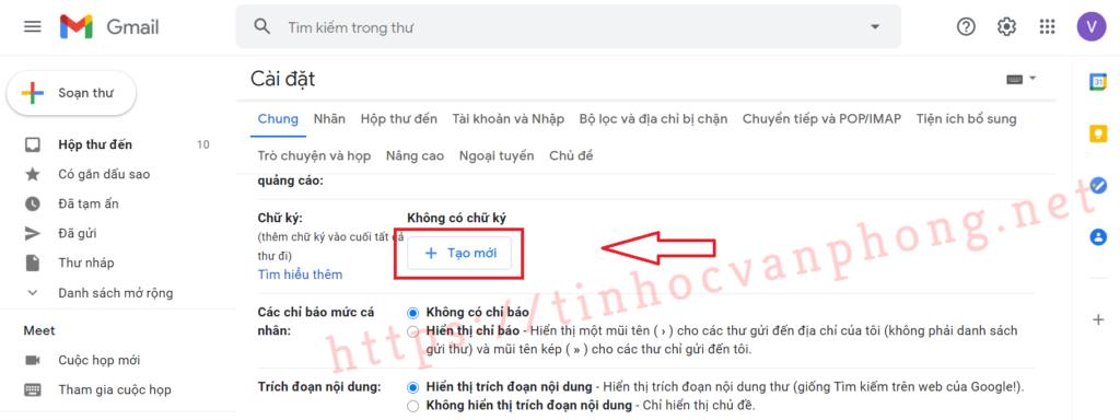 Tạo chữ ký Gmail - Tạo chữ ký mới