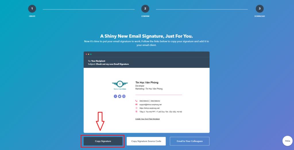 Tạo chữ ký Gmail - hubspot-copy signature