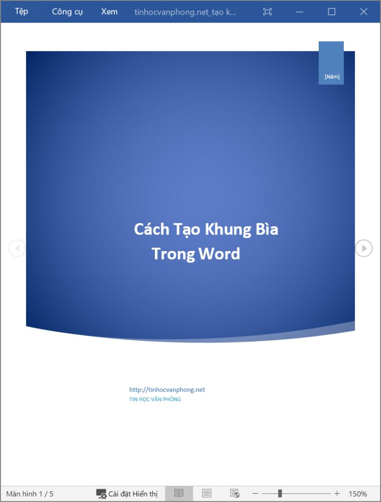 Tạo khung bìa trong Word - Chỉnh sửa nội dung