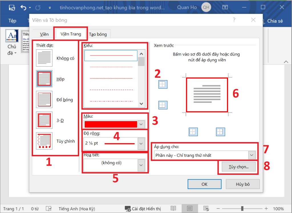 Tạo khung bìa trong Word - Page Borders - Hộp thoại viền và bóng