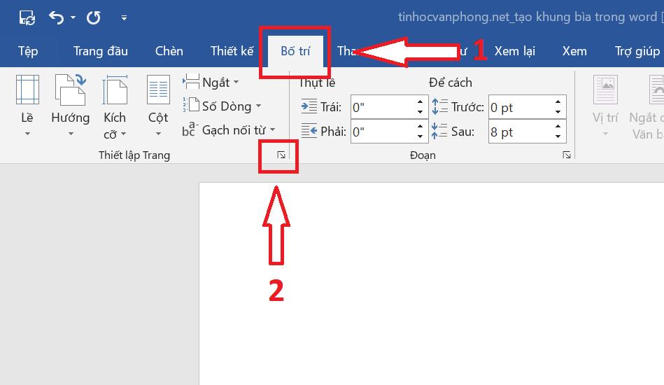 Tạo khung bìa trong Word - Page Borders - Page Setup