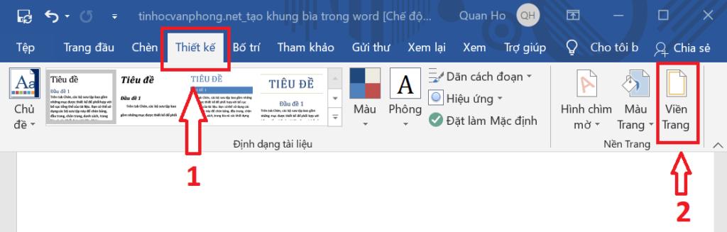 Tạo khung bìa trong Word - Page Borders - Viền trang