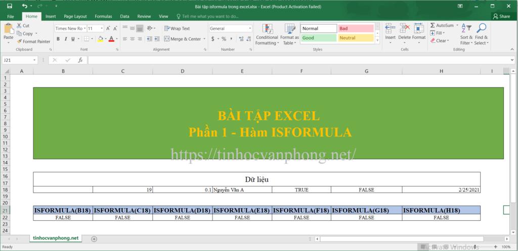 Bài tập hướng dẫn sử dụng hàm isformula trong excel
