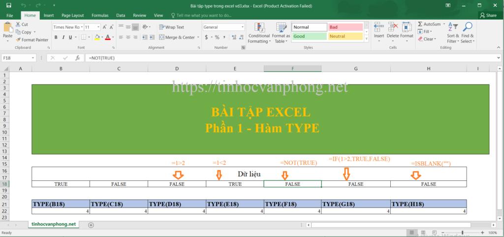 Bài tập hàm type cho kiểu dữ liệu LOGIC
