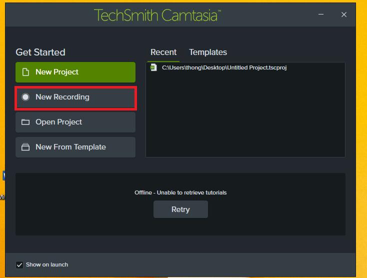 Hình sau khi khỏi động phần mềm Camtasia