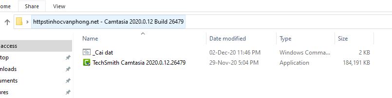 Phần mềm chỉnh sửa video Camtasia sau khi giải nén