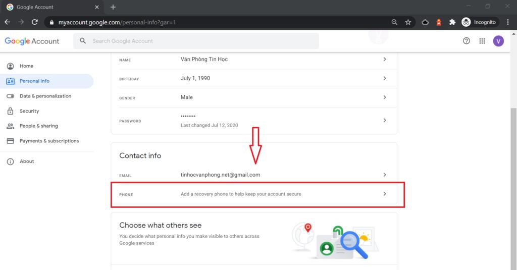 Đổi số điện thoại Gmail - Màn hình thông tin cá nhân
