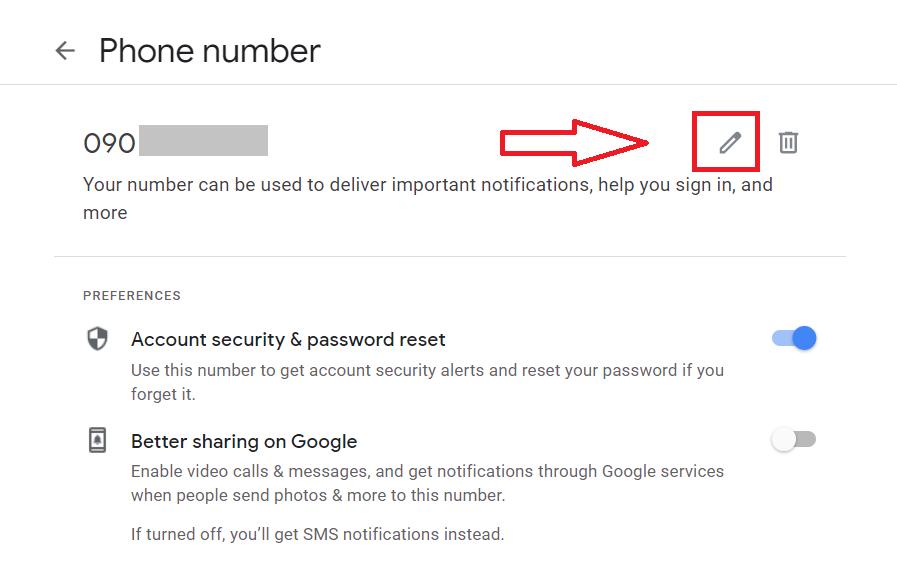 Đổi số điện thoại Gmail - Màn hình thay đổi số điện thoại