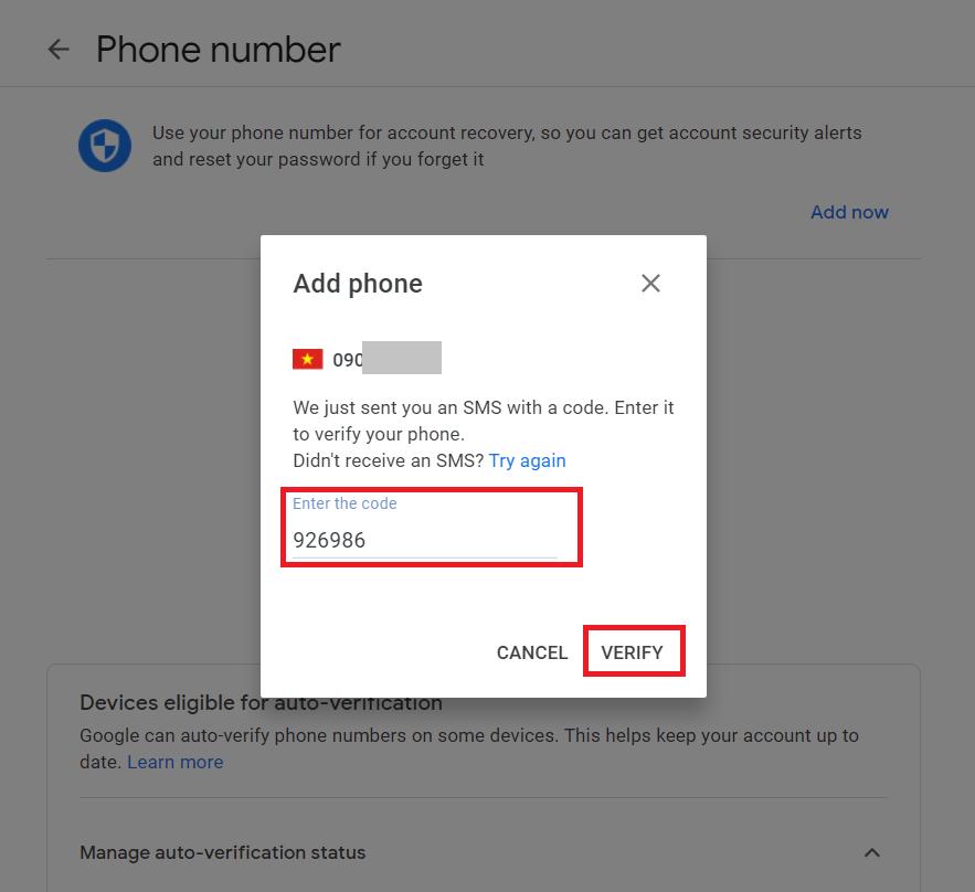 Đổi số điện thoại Gmail - Nhập mã code