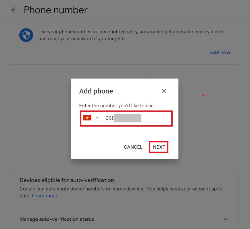 Đổi số điện thoại Gmail - Nhập số điện thoại