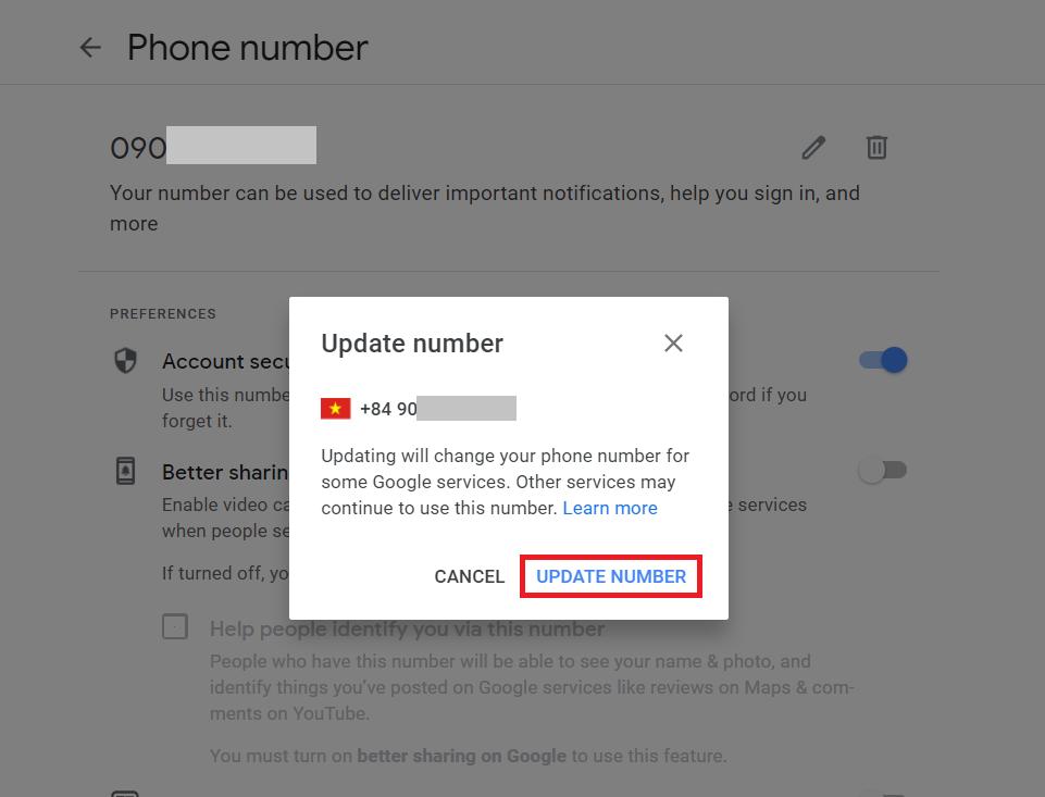 Đổi số điện thoại Gmail - Popup đổi số điện thoại