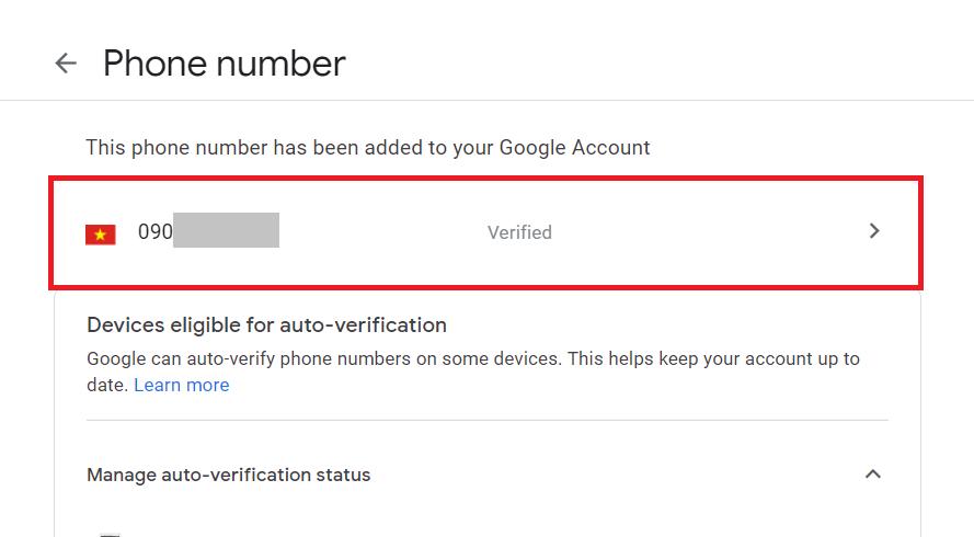 Đổi số điện thoại Gmail - Thêm số điện thoại thành công