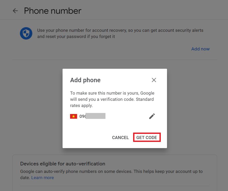Đổi số điện thoại Gmail - Xác thực số điện thoại