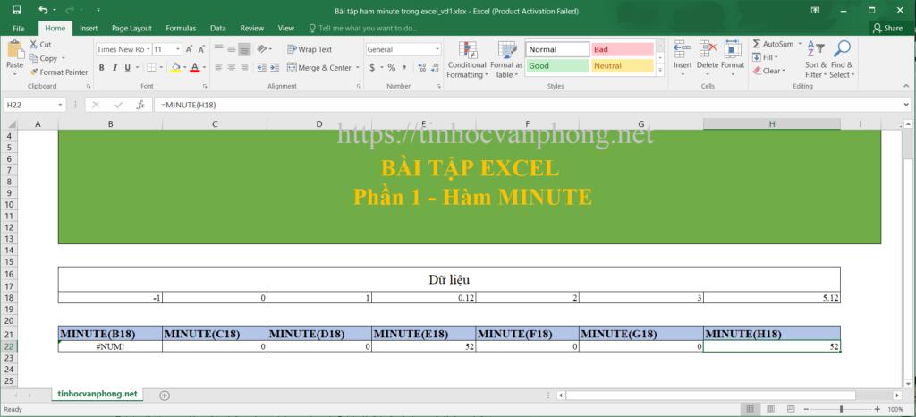 Hàm minute cho dữ liệu sô