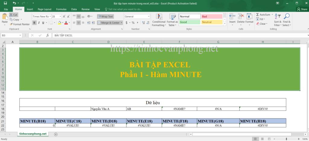 Bài tập hàm minute cho dữ liệu dạng chuỗi và lỗi
