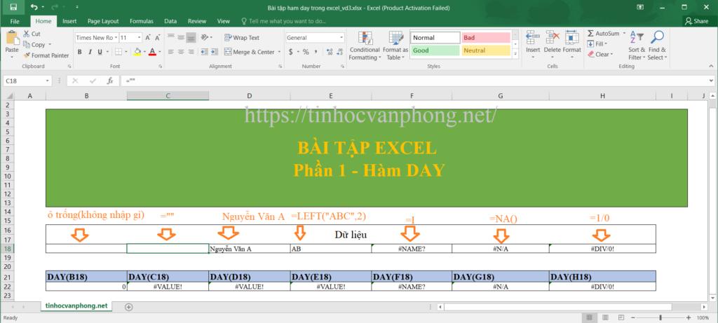 Ví dụ 3 hàm DAY cho dữ liệu chuỗi và lỗi
