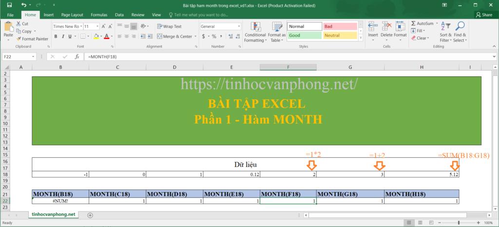 Ví dụ về hàm month cho dữ liệu số