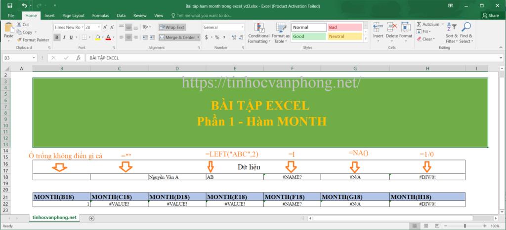 Ví dụ hàm month cho dữ liệu chuỗi