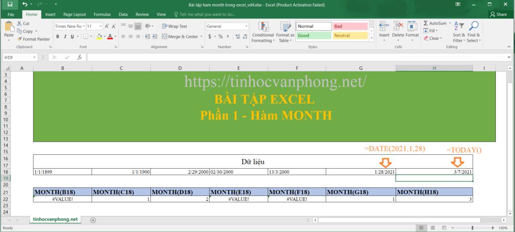 Ví dụ hàm month cho giá trị ngày tháng