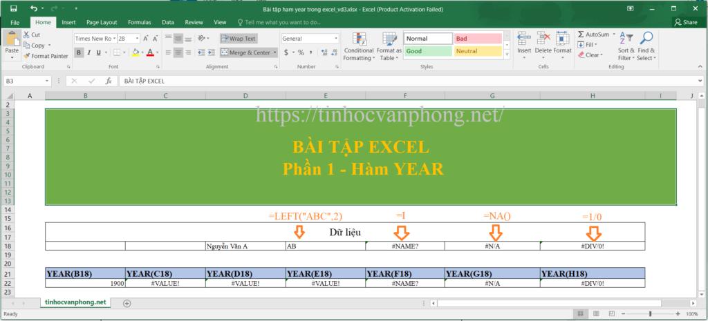 Ví dụ áp dụng hàm year cho dữ liệu chuỗi