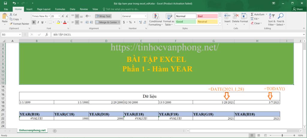 Ví dụ áp dụng hàm year cho dữ liệu ngày tháng