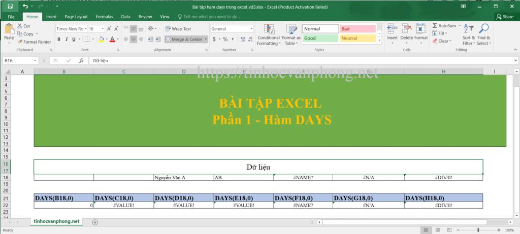 Bài tập hàm days trong excel vd3