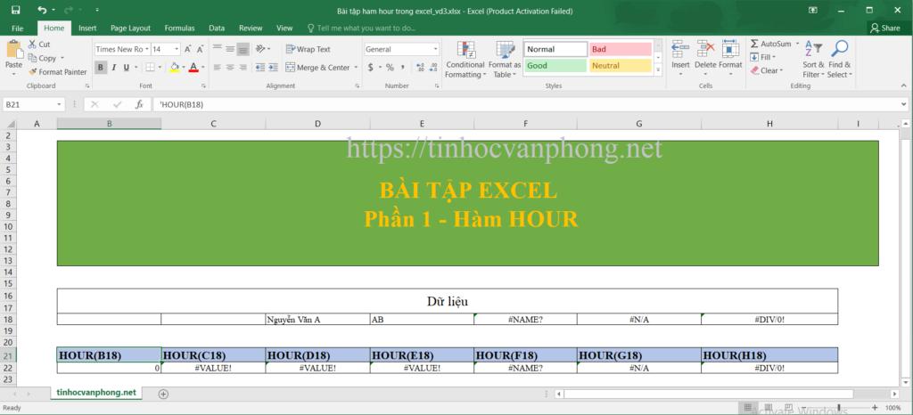 Hàm HOUR cho dữ liệu dạng chuỗi và lỗi.