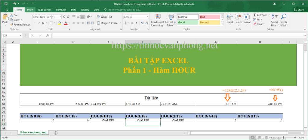 Hàm HOUR cho dữ liệu dạng time