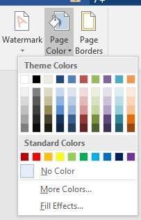 Bản màu lựa chọn để đổi màu nền word