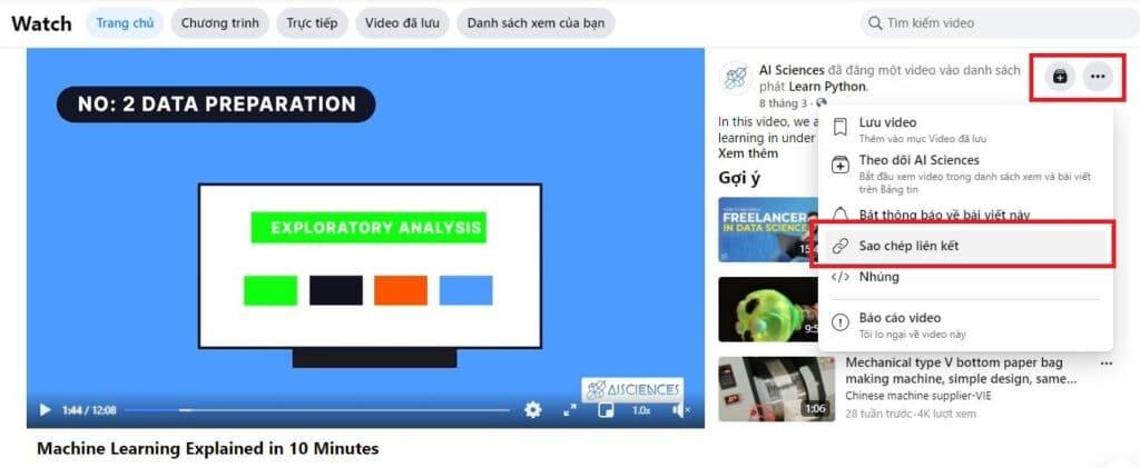 Sao chép đường dẫn của video cần tải về từ facebook