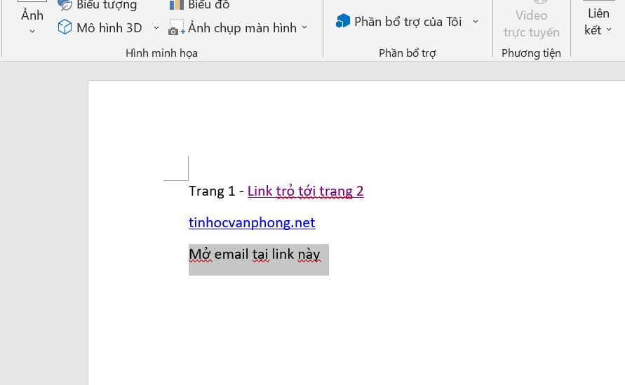 chèn link vào word - chọn chữ để mở email trong word