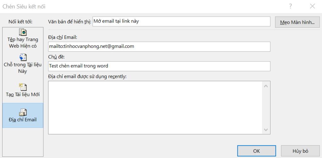 chèn link vào word - nhập địa chỉ email và chủ đề mail