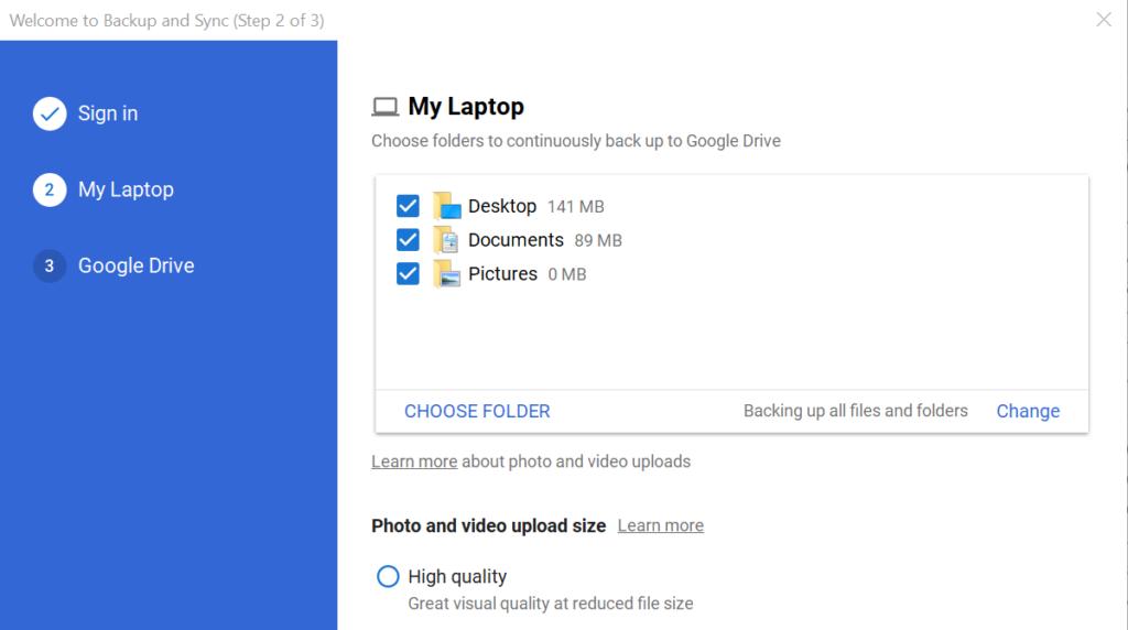 copy thư mục trên google drive - chọn thư mục lưu trữ tài liệu của Google Drive trên máy tính 2