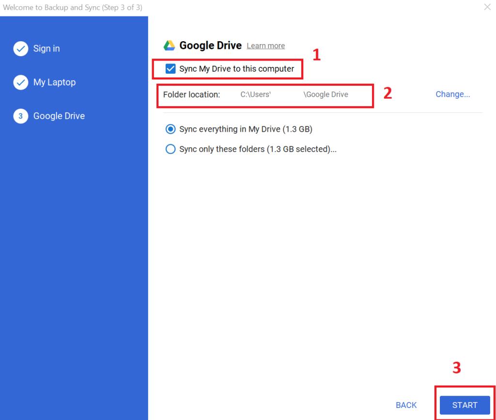 copy thư mục trên google drive - chọn thư mục lưu trữ tài liệu của Google Drive trên máy tính 3