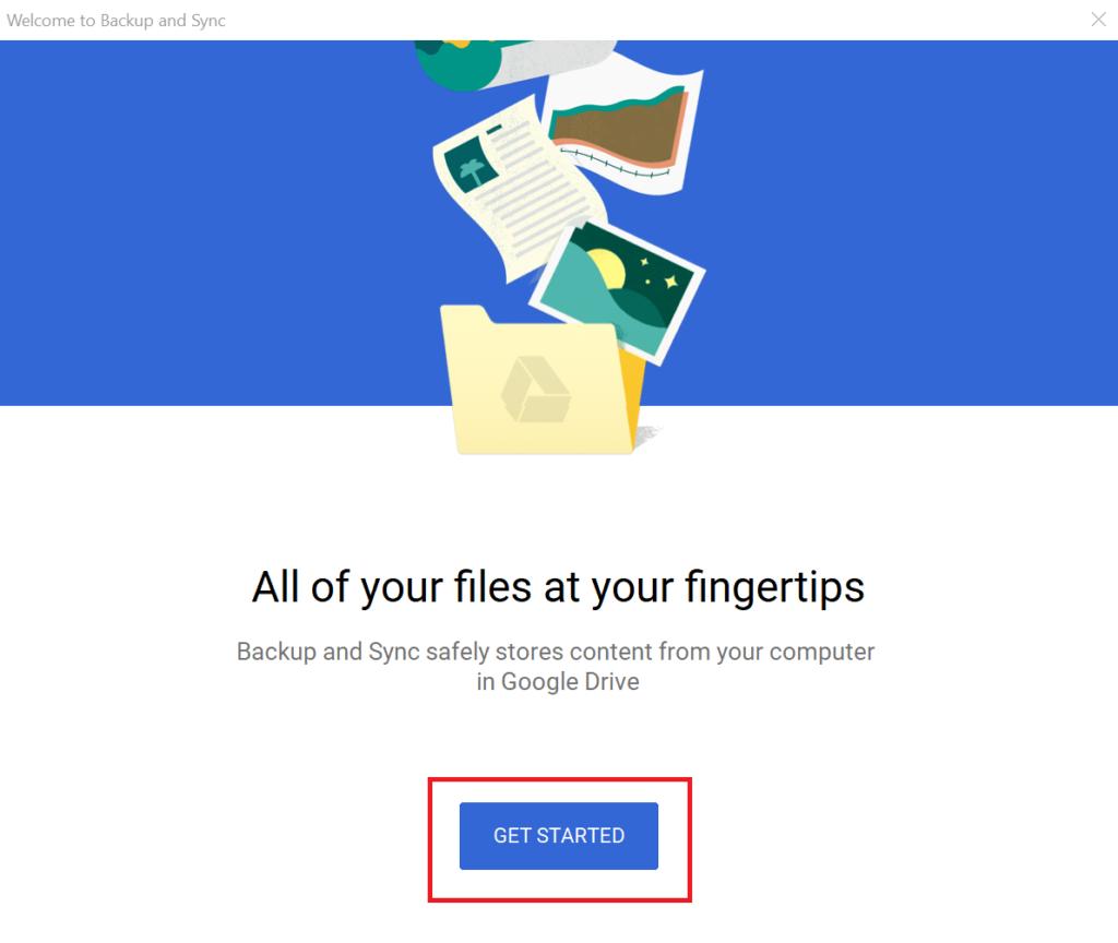 copy thư mục trên google drive - đăng nhập tài khoản trên ứng dụng Backup and Sync
